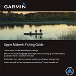 """Garmin Upper Midwest Fishing Guide Brand New Includes One Year Warranty, The Garmin Upper Midwest Fishing Guide is a guide that includes detailed coverage for more than 9, 500 of the most popular lakes, rivers, inlets, channels and hazards in the Upper midwest"